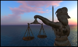 Lady Justice Statue at Second Life's Law and Justice Center